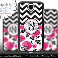 Floral Chevron Samsung Galaxy S4 S5 case Galaxy S3 Case / Note 2 3 Case Monogram Personalized  Rubber or Plastic