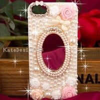 iphone 5 case, iphone 4s case,pearls iphone 4 case, mirror iphone case,bling bling iphone cover, unique case