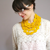 Knit Necklace Cowl Scarf- Sunshine Yellow