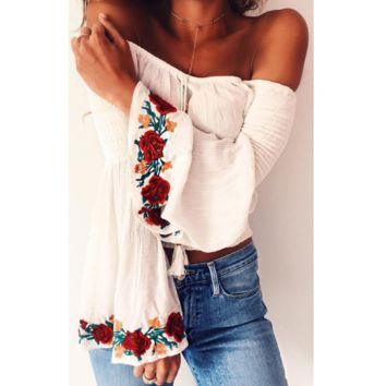 Flowers embroidered off shoulder chiffon shirt sexy speaker sleeves top blouse
