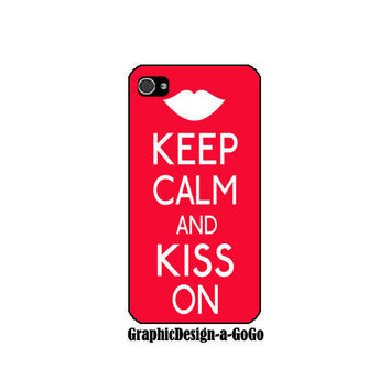 Iphone 4/4s case, Keep Calm and Kiss On, custom cell phone case, original design