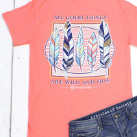 All Good Things Feather Tee {Coral}