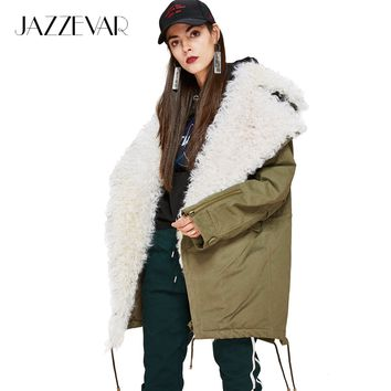 New Fashion Women's real lamb fur large turn-down collar Coat Military Parkas casual Outwear oversize Winter Jacket