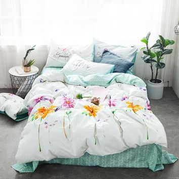 Luxurious yellow flowers Bedding set plant 100% Cotton bed linen duvet cover pillowcase twin queen king Lovely girl bedclothes