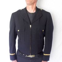 Totally RAD Vintage Fireman Dress Uniform Jacket Eisenhower Style High Waisted Military Gold Buttons Trim SIZE Large 1960s