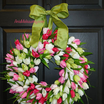 spring wreath Easter wreaths for front door wreaths decorations pink tulips wreaths, Mother's day gifts, vases