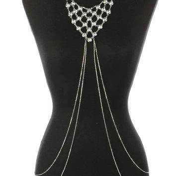 Clear Layered Crystal Stone Bib Necklace And Body Chain