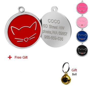 Custom Cat Personalized Engraved ID Tag Collar Pendant with Bell