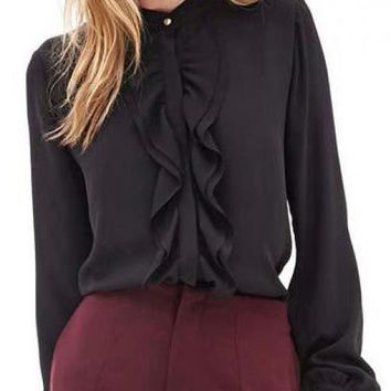 Black Blouse with Ruffle Button Stand