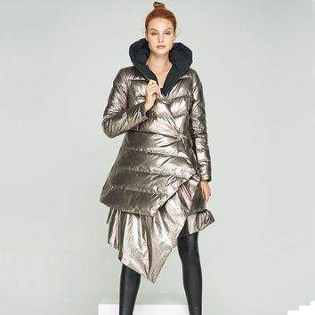 Reversible Gold to Black Loose Asymmetric Puffy Coat