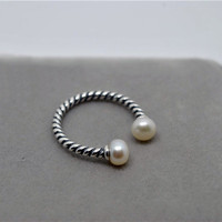 Double Fresh Water Pearl Sterling Silver Twisted Ring, adjustable / open ring. statement ring. gift for her, July birthday gift