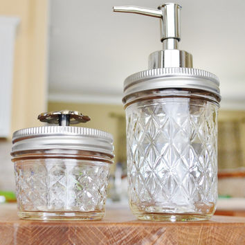 Small Quilted Mason Jar Soap Dispenser Set For Bathroom Kitchen 8oz