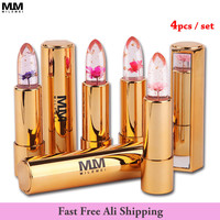 4Pcs/set Brand Milemei Flower Lipstick magic color temperature change  original beautiful  jelly  flower lipstick matte batom