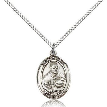 """Saint Albert The Great Medal For Women - .925 Sterling Silver Necklace On 18""""... 617759486582"""