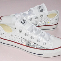 Customised Crystal White Low Top All Star Converse Canvas Blinged Crystal Sides & White Ribbon Custom Order Wedding Shoes Adult Womens
