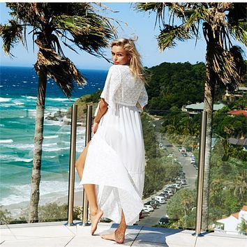 Ariel Sarah White Covers-Up Beach Coat Swimsuit Cover-Ups Lace Beachwear Sun Protection Clothes Knitted Bikini Cover-up