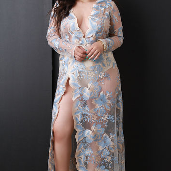 Floral Embroidery Mesh Plunging High Slit Maxi Dress