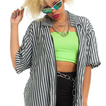 Vintage 90's Retro Monochrome Button-Up - One Size Fits Many