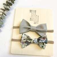 Bow Headband Set of 2 - Grey & Floral