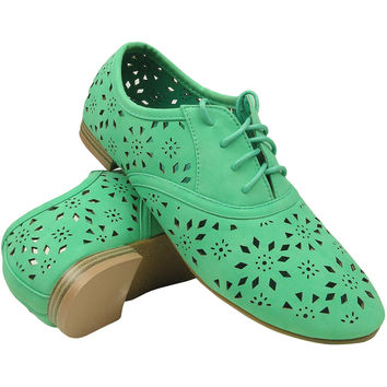 Womens Ballet Flats Tribal Eyelet Cutout Shoe Laces Green