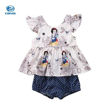 Newborn baby girl clothes set summer Snow White Princess floral T shirt+Polka Dot Briefs girls 2pcs Outfits Clothing