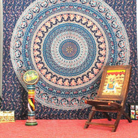 Blue Camle Mandala Tapestry , Elephant Indian Mandala Hippie Wall Hanging, Bohemian Mandala Wall Hanging, Bedspread Beach Coverlet throw art