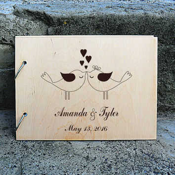 Rustic Wedding Guest Book Custom Guest book Personalised Wedding Guest Book Alternative Wooden Wedding Guest Book Wood Guestbook