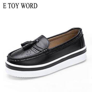 E TOY WORD High Quality women oxfords Flats Platform shoes Genuine Leather Tassel Slip-on Creeper black Brogue loafers brand