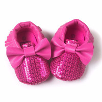 Dark Pink Sequin Bow Faux Leather Moccasins
