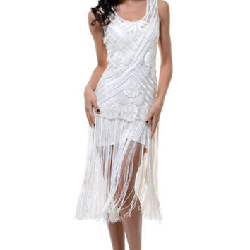 1920's Style Ivory Beaded Rosalie Flapper Dress - Unique Vintage - Prom dresses, retro dresses, retro swimsuits.