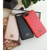 Gucci Fashionable Boys Girls Personality Contracted Letter Pattern Leather iPhone Phone Cover Case For iphone 6 6s 6plus 6s-plus 7 7plus iphone X (4-Color)