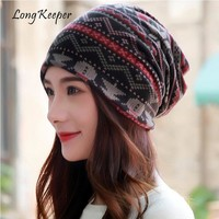 Long Keeper Fashion Wave Striped Women Autumn Caps Cotton Winter Warm Hat Knitted Scarf Ladies Covering Cap Unisex Turban Beanie