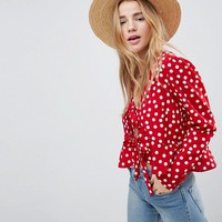 ASOS Ruffle Top with Tie Front in Spot at asos.com