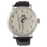 Love with Pet Paw Print Brown Grunge Typography Wristwatch