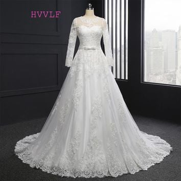 Vintage Vestido De Noiva 2018 Muslim Wedding Dresses A-line Long Sleeves Appliques Lace Cheap Boho Wedding Gown Bridal Dresses