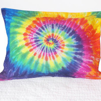 Tie Dyed Pillow Sham Beautiful Rainbow Spiral 100 Percent Cotton Standard Size Colorful Pillow Sham