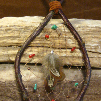 Native American Natural Cherry Wood Dream Catcher Hand Woven from The Hidden Meadow