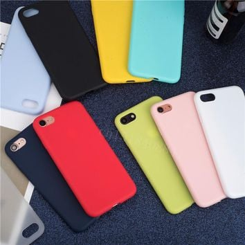 Luxury Soft Back Matte Color Cases for iPhone 7 8 X XS max XR Case Shockproof TPU Silicone Back Cover for iPhone 5 5s SE 6 6s