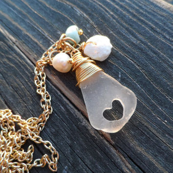 Beach Glass Heart Larimar and Puka Shell Necklace