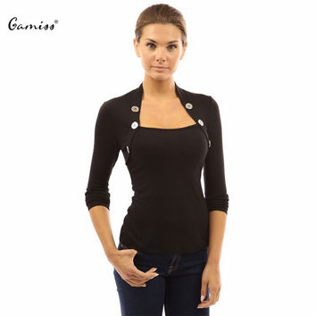 Gamiss Women Black Blouses and Shirt Long Sleeve Square Neck Woman Shirts Casual Pullover Bottons Tops Blusas Femininas