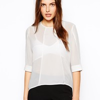 By Zoe Woven T-Shirt with Contrast Sheer Panels