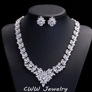 CWWZircons High Quality Cubic Zirconia Wedding Jewelry Sets Long Crystal Bridal Necklace And Earrings Set For Brides T117