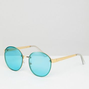 ASOS 9ct Gold Round Fashion Sunglasses With Turquoise Laid On lens at asos.com