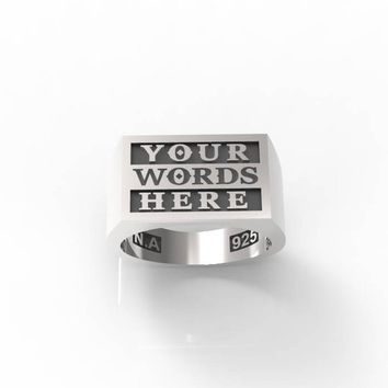 Custom Silver Ring | personalized silver ring | personalized signet | word ring | personalized jewelry | custom names | custom words | 925