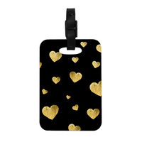 "Robin Dickinson ""Floating Hearts"" Gold Black Decorative Luggage Tag"