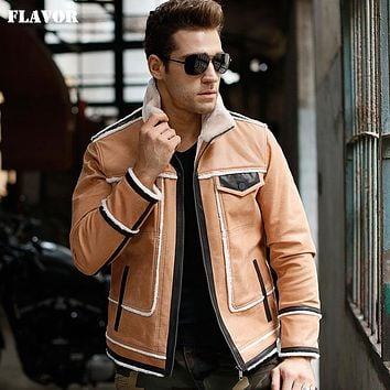 Men's Genuine Leather jacket real leather jacket with faux fur motorcycle winter warm coat men