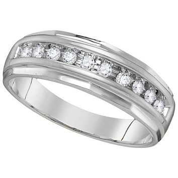 10kt White Gold Mens Round Diamond Single Row Grooved Wedding Band Ring 1/4 Cttw