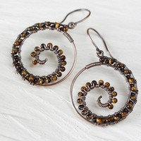 Caramel Brown Tiger's Eye Spiral Hoop Earrings