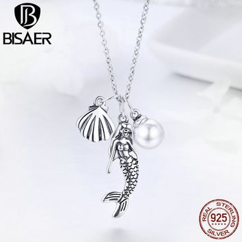 BISAER Genuine 925 Sterling Silver Triple Pendant Boho Mermaid Pearl and Shell Chain Link Necklace for Women Jewelry Gift GXN237
