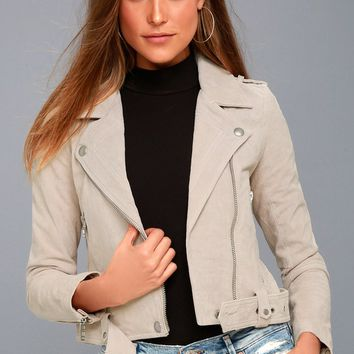 Backhanded Light Grey Suede Leather Moto Jacket
